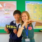 Laura and one of her students in South Korea.
