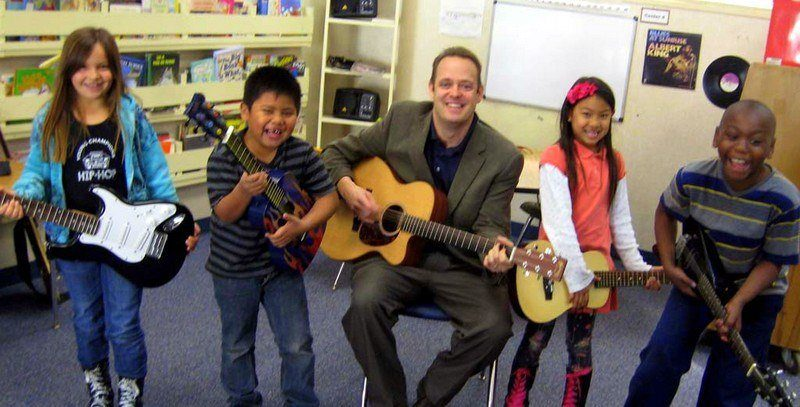 Mr. Schwartz's classroom is a musical place.