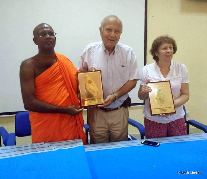 With a monk in Sri Lanka, getting certificates at the end of the teaching course