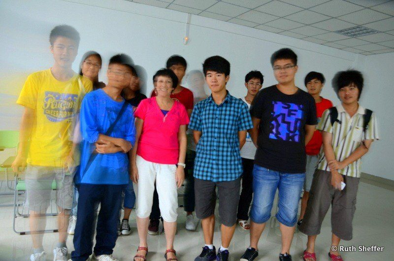 With students while teaching in China.