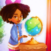 Anya exploring the world in her picture books!