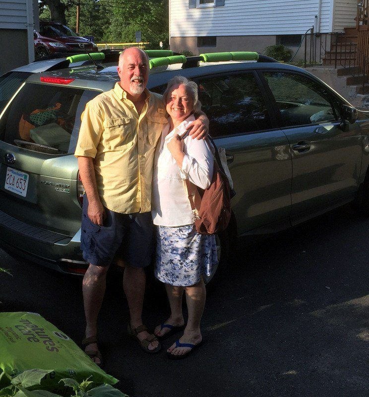 Bruce and Louise, ready to leave on their trip cross country.