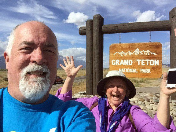 Bruce and Louise at the gate for Grand Teton National Park.