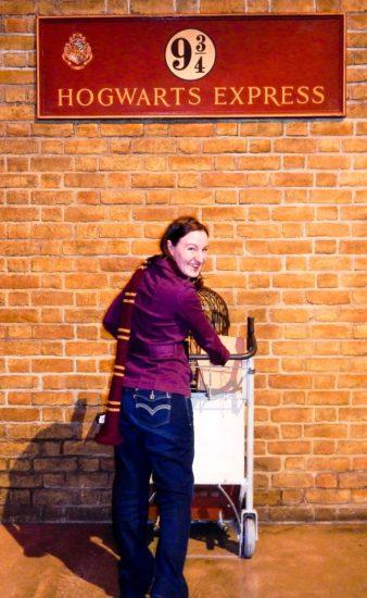 At the Hogwarts railroad platform in London.
