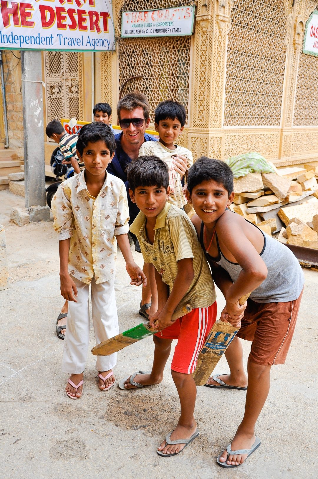 "The ""Cricket Kids"" chanted Olé Olé Olé for Ernie until he went to bat in a back ally in Jaisalmer. He crushed their only cricket ball over the roof at the end of the ally. They went nuts cheering for a few seconds, then ran to him to get money for a new ball."