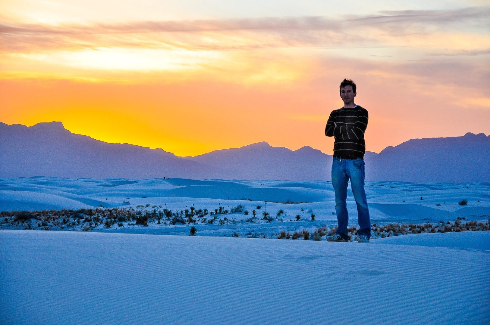 White Sands National Monument in New Mexico at sunset.