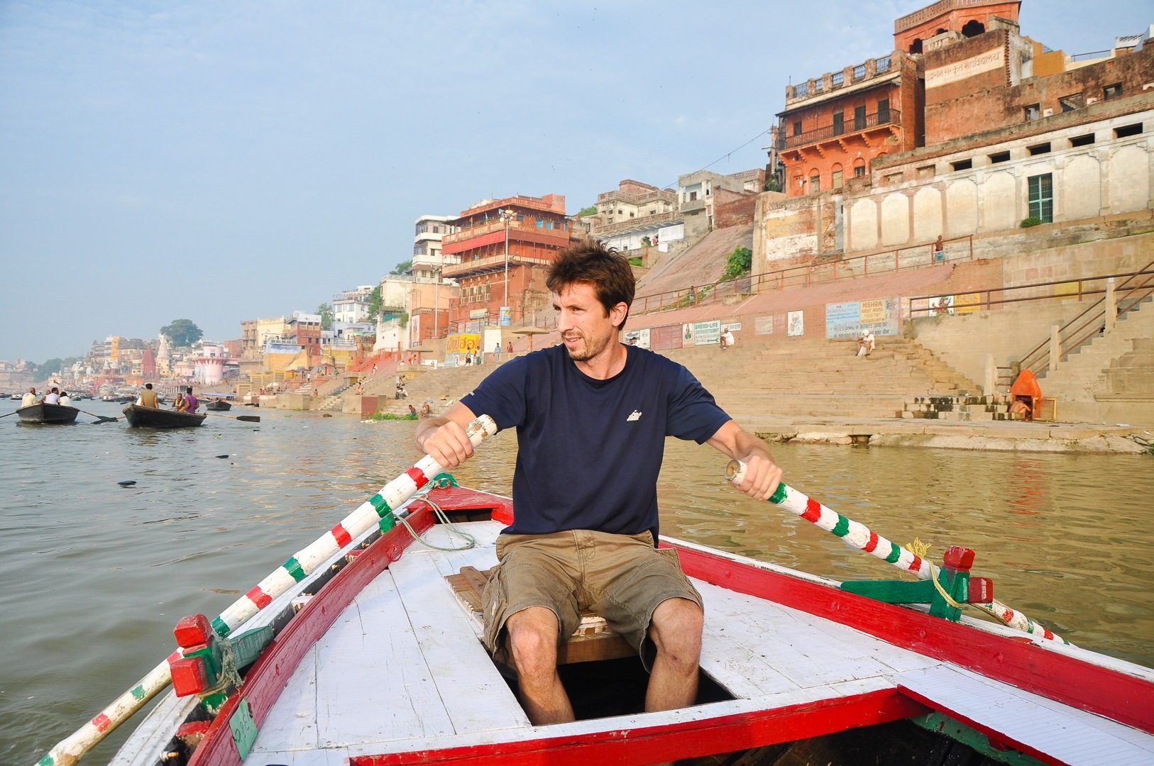 Rowing down Ganges River in Varanasi, India.