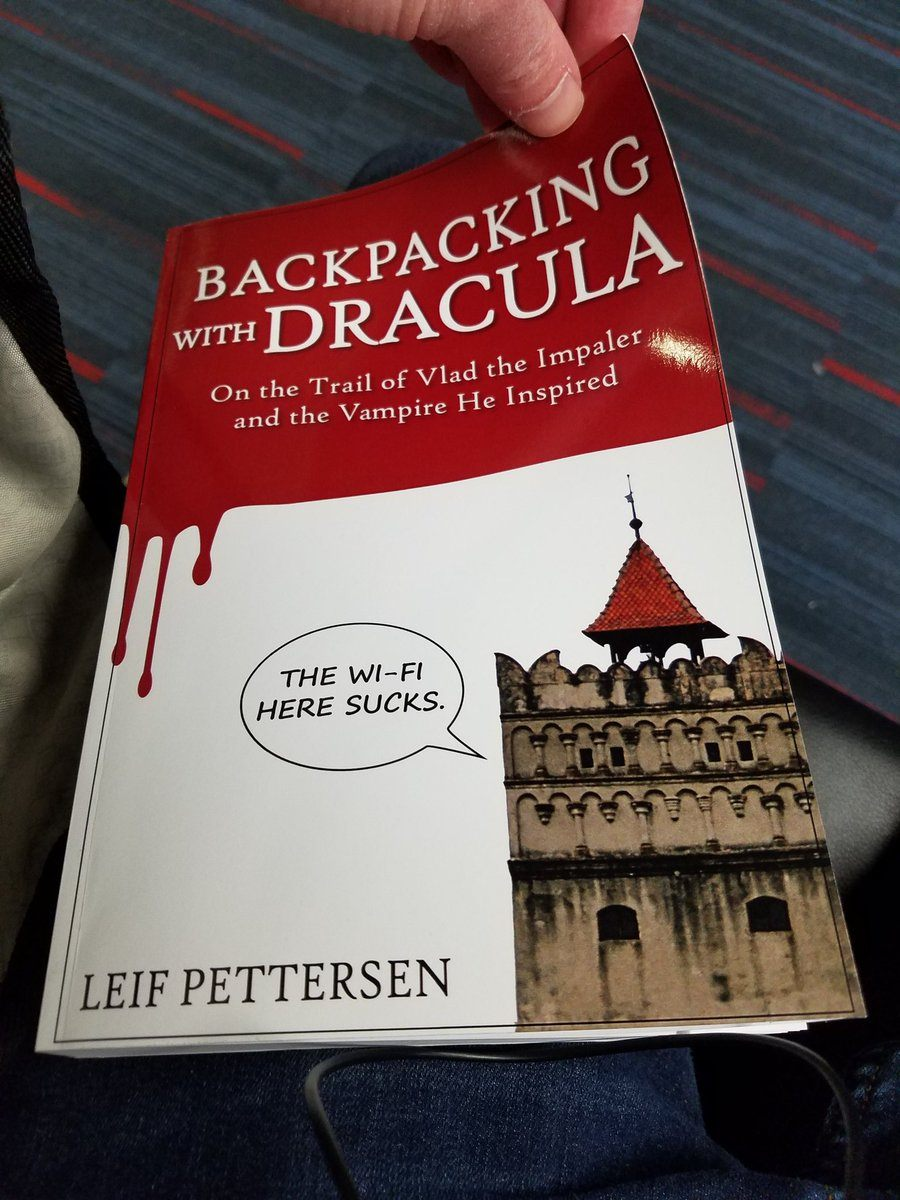 "Leif's hot new book, ""Backpacking With Dracula."""
