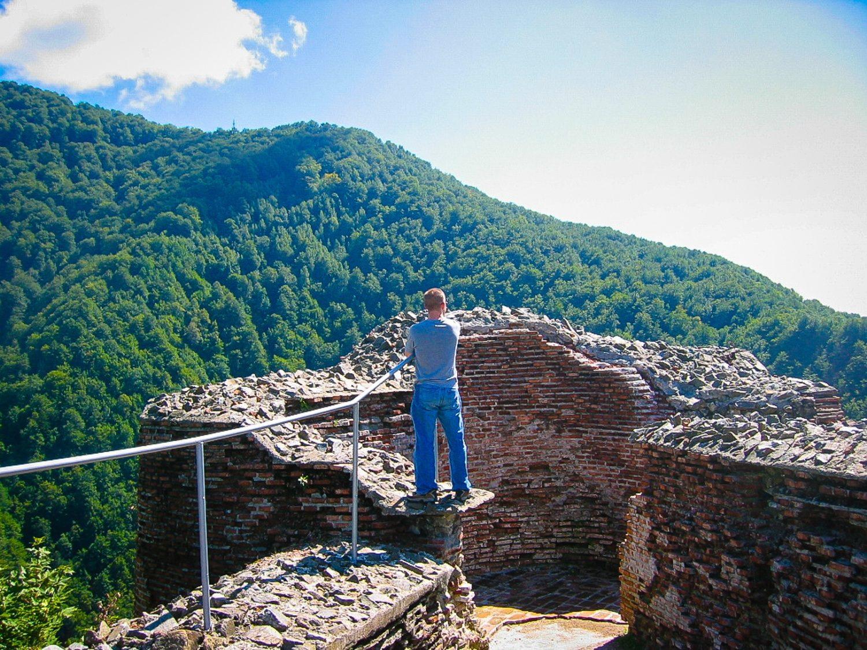 Poienari Citade: Dracula's Castle), Romania, with Leif at the edge.
