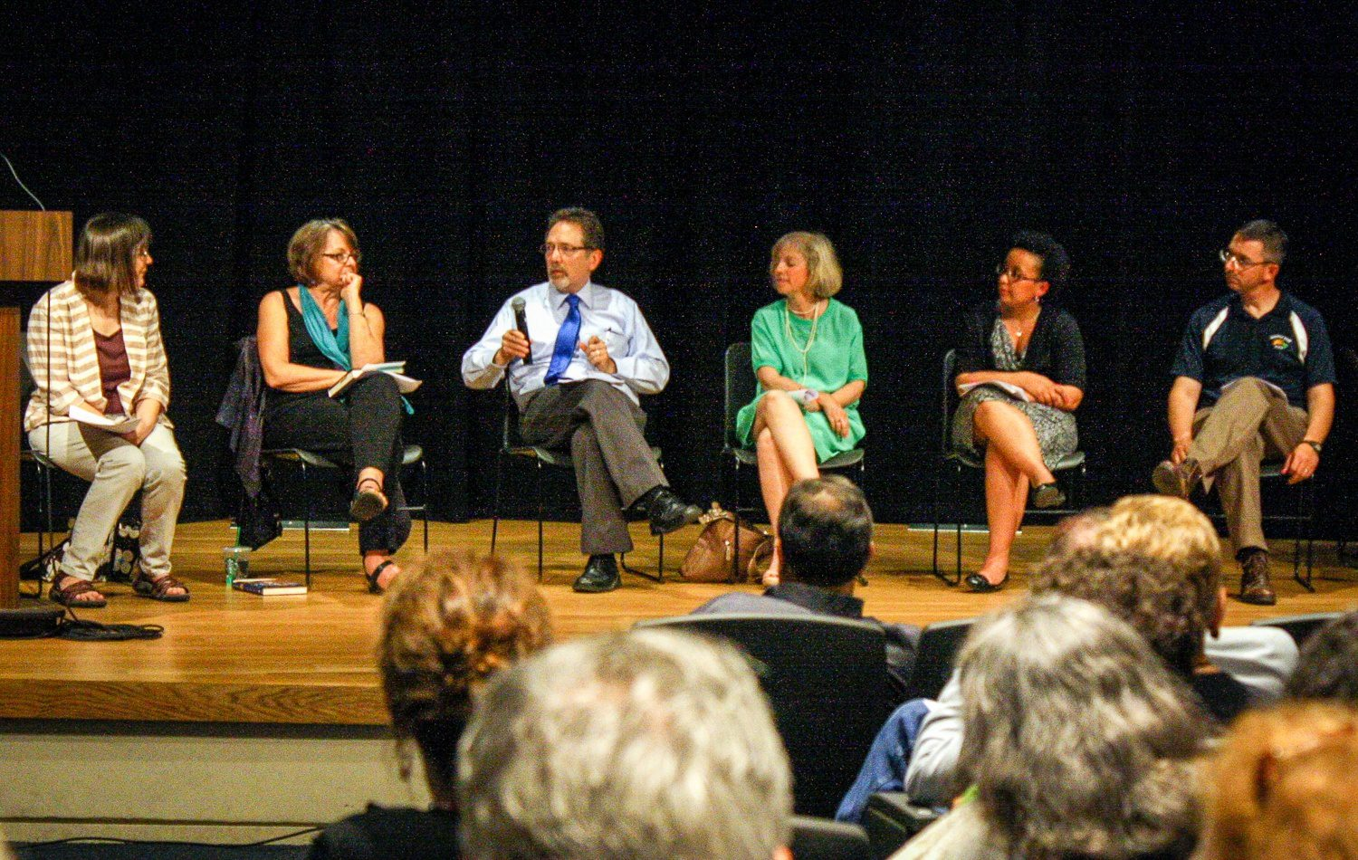 """""""Teaching with Heart"""" book reading in Maryland with contributors to the book: Megan Scribner, Kathleen Glaser, Dennis Huffman, Christine Intagliata, Rachel Willis, and Liam Corley. (Missing from the picture: Jamie Raskin.)"""