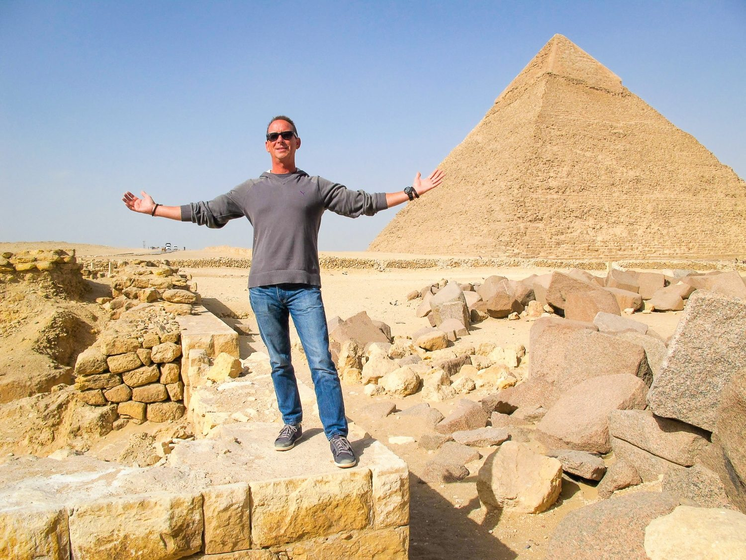 At the Giza, Egypt pyramids: one of Mark's lifelong dreams.