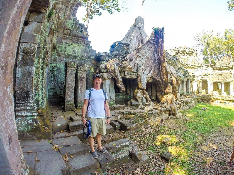 Mark at the ancient temples of Angkor Wat, Cambodia.
