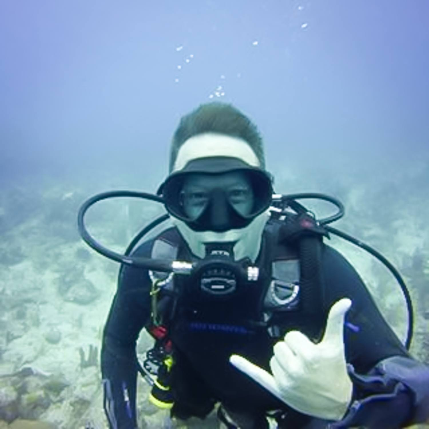 Mark scuba diving in Turks and Caicos.