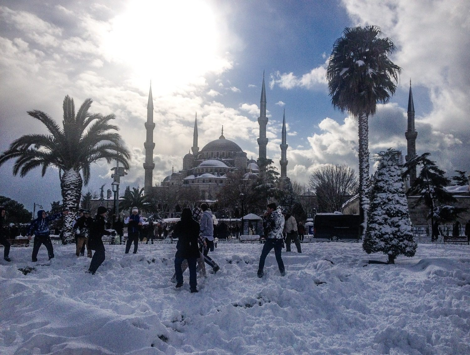 A rare snowfall at the Blue Mosque in Istanbul, Turkey, January 2016.