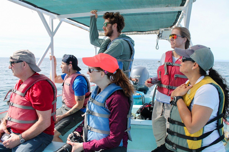 A teacher fellowship group on a boat.
