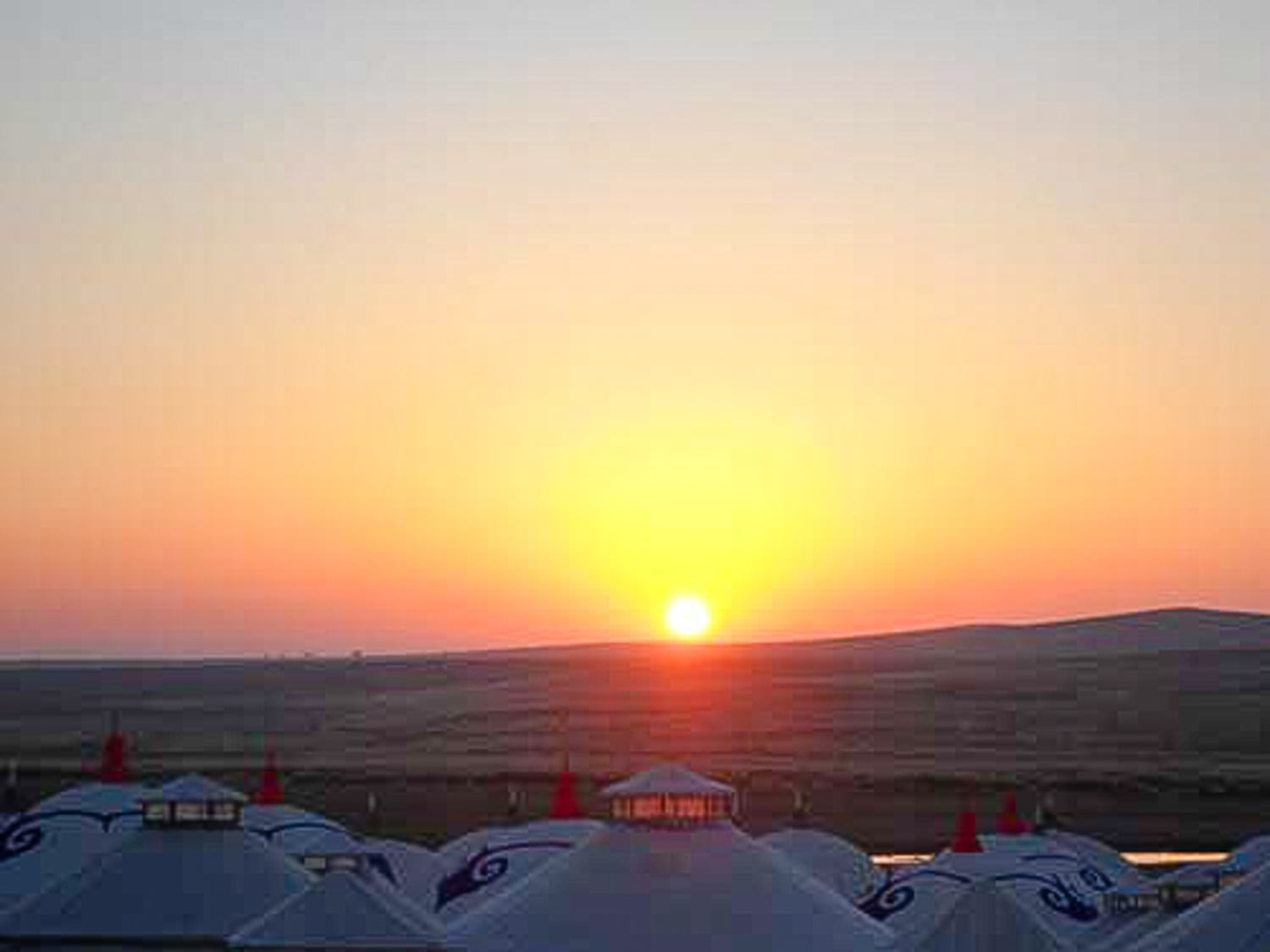 Sunrise over the steppes in Inner Mongolia, China during a mini-vacation with a colleague.