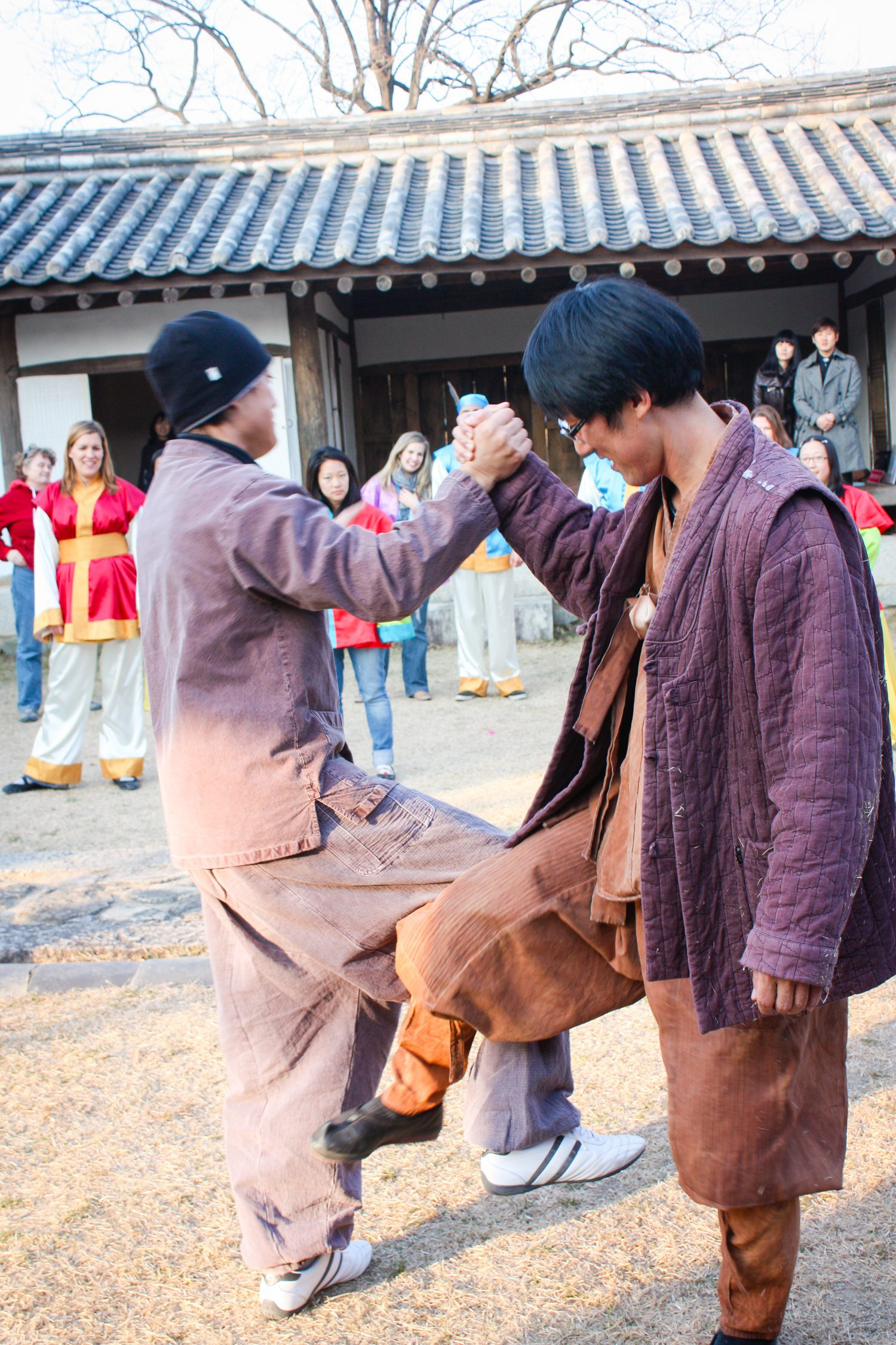 Martial arts at a traditional Korean house experience in Gyeongju, South Korea.