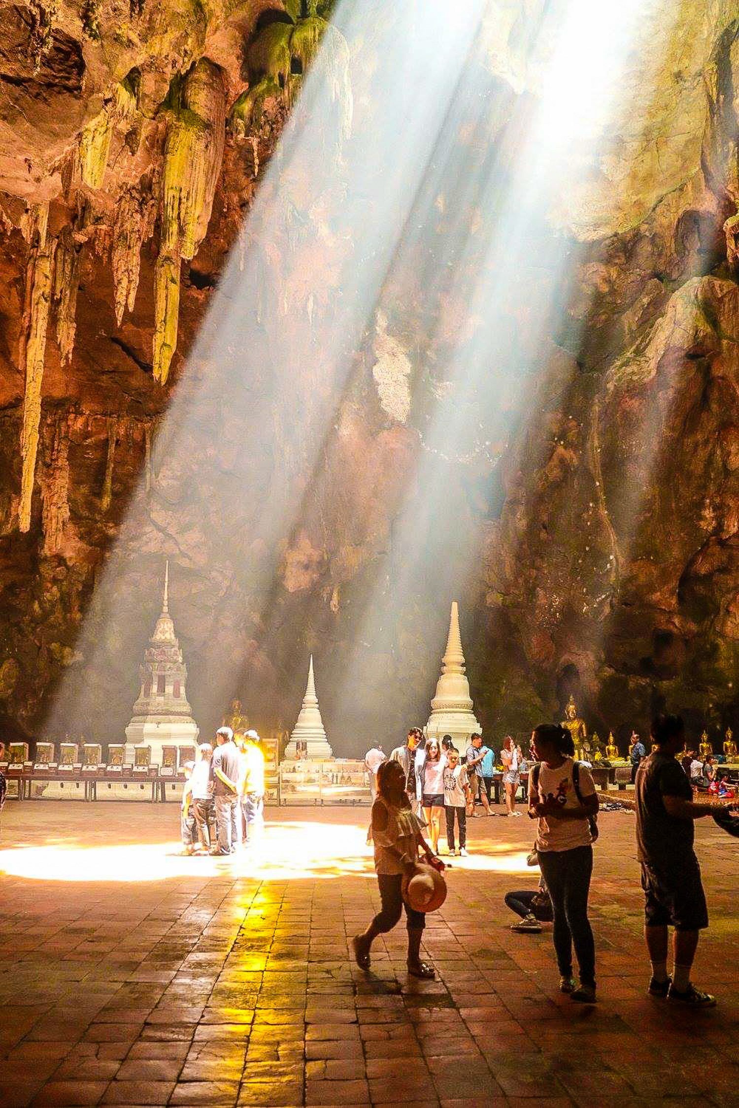 Sun rays in Tham Khao Luang Cave, Thailand.