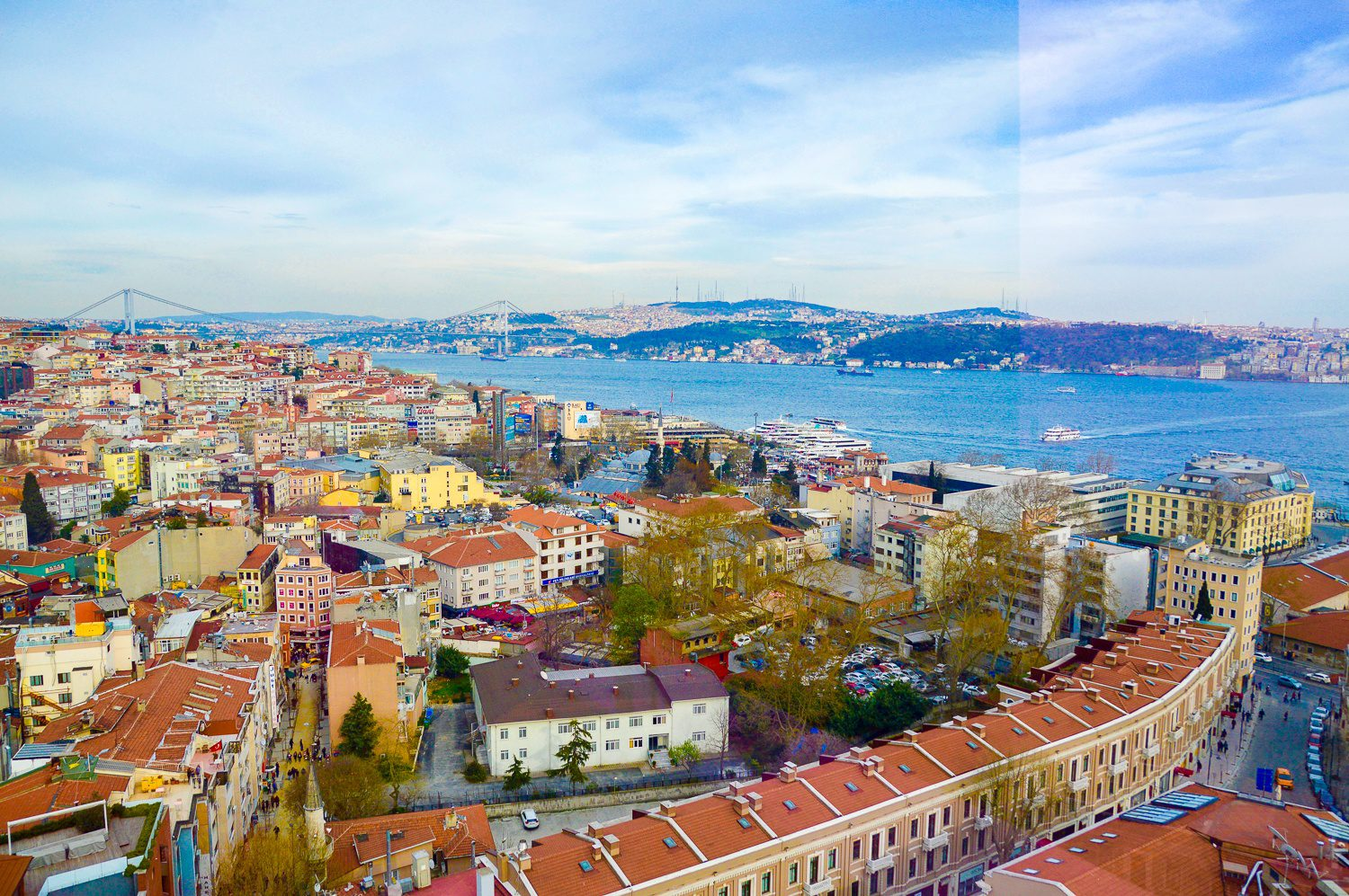 Istanbul, with the Bosphorus in the background.