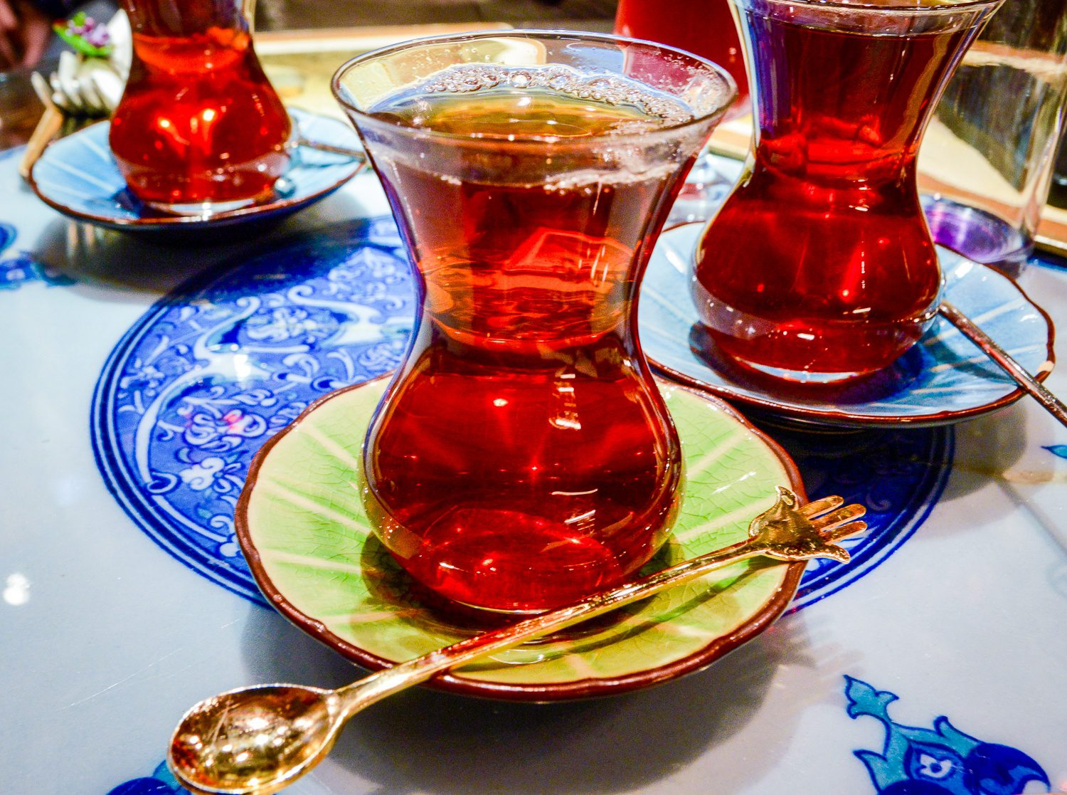 Turkish tea, which was essentially Chris's life fuel in Istanbul.