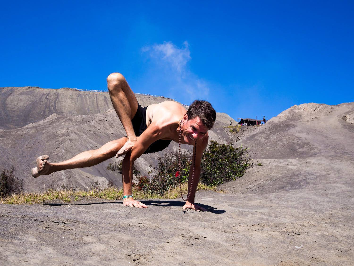Stephen doing a little outdoor yoga at Mount Bromo, Indonesia.