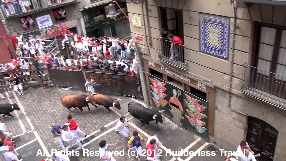 Running With The Bulls In Pamplona, Spain.