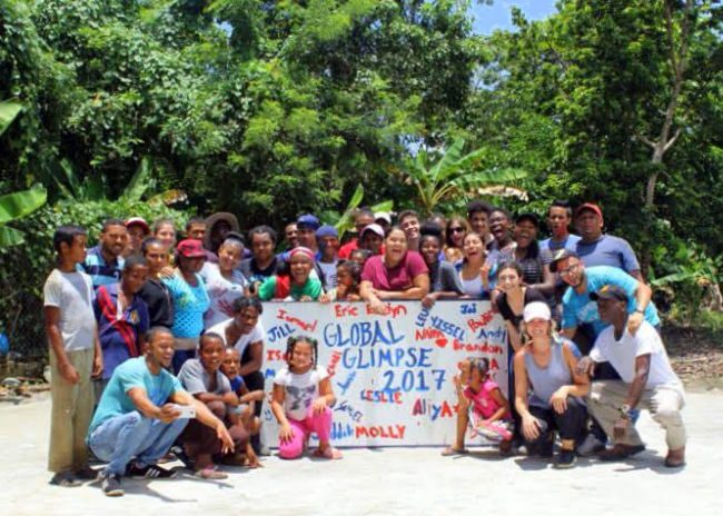 The backboard for the playground, with the whole Global Glimpse team.