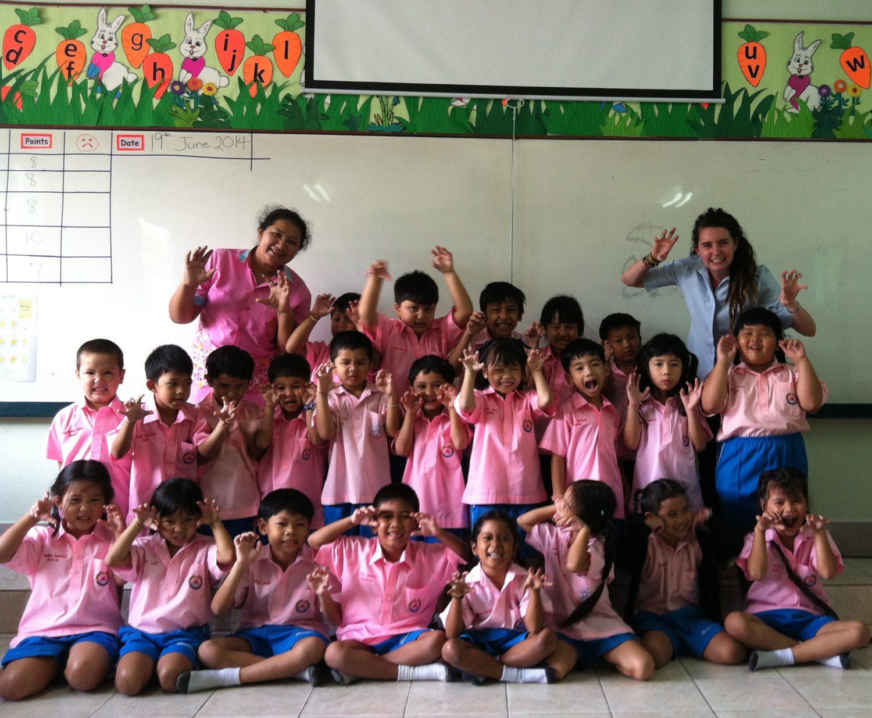 Teaching Kindergarten students Phuket, Thailand