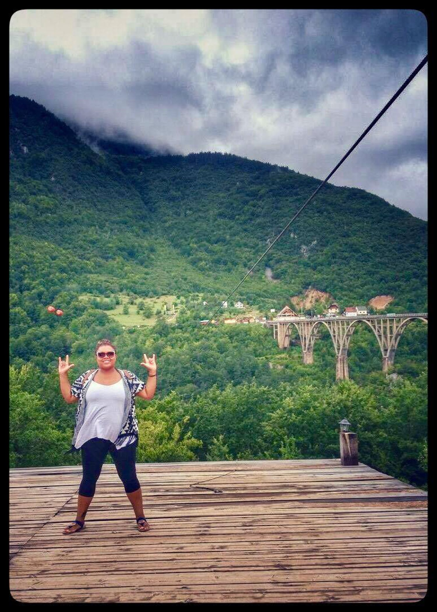 Adventure mandatory lifestyle; spontaneous zip lining at the Djurdjeciva Tara bridge in Montenegro.