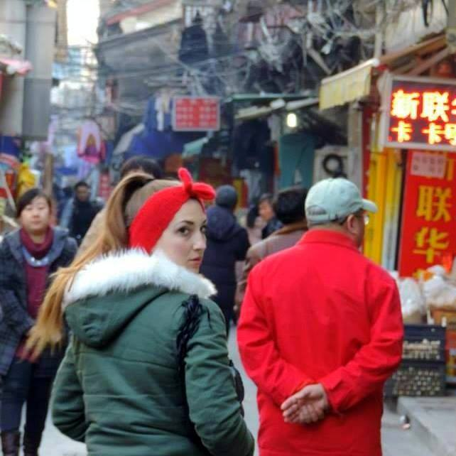 Shannon in China, while teaching abroad there.