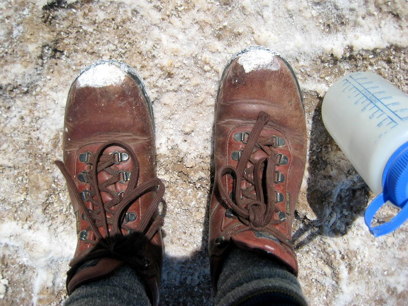 Salty boots during a trip!