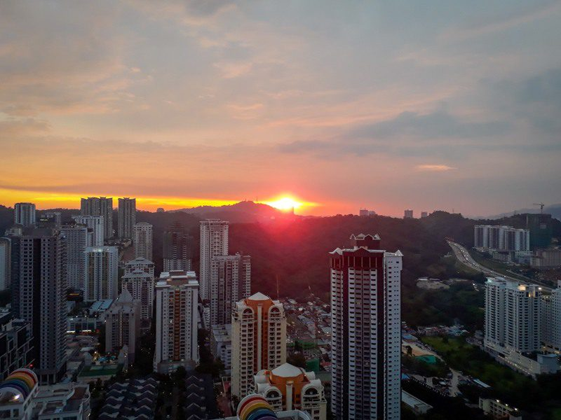 Sunset from Tim's apartment in Kuala Lumpur. Wow!