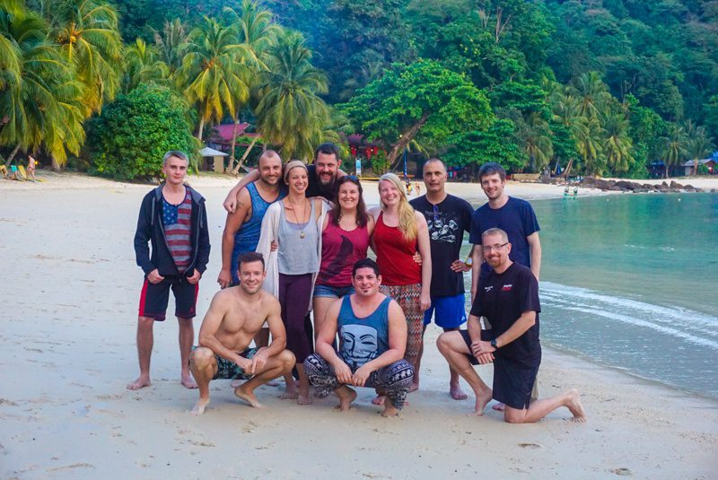 With other teachers on a diving trip in Malaysia.