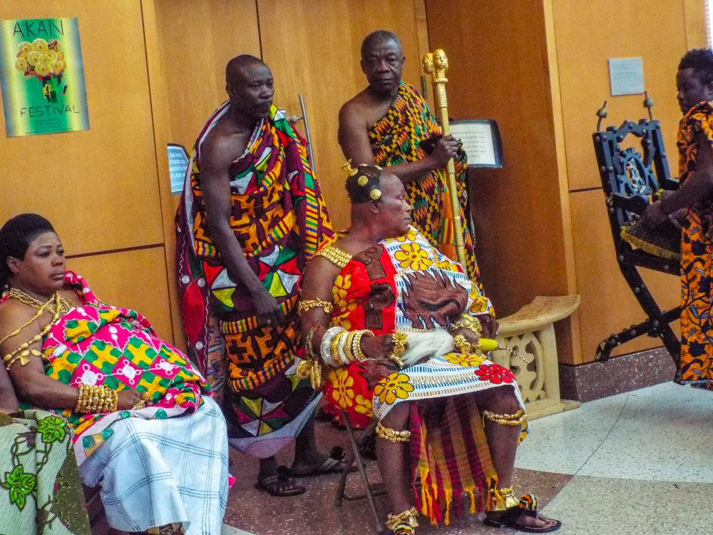 A Ghanaian Traditional Chief, Queen, and Linguist in the US.