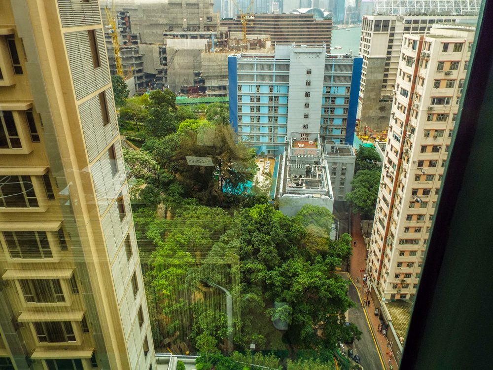 Prince's view, looking down from his hotel room in Hong Kong.