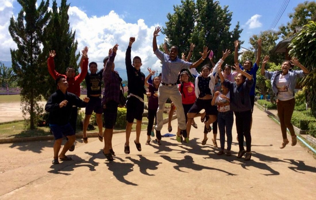 Teaching English Abroad in Asia as an African-American Man: Jumping for joy in Bangkok, Thailand