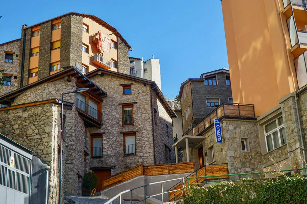 The layered buildings of Andorra.