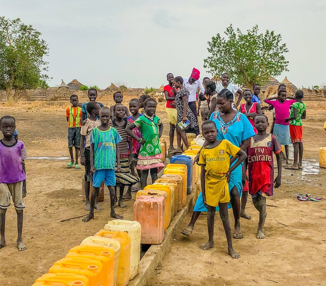 Waiting to fill water jugs in South Sudan.