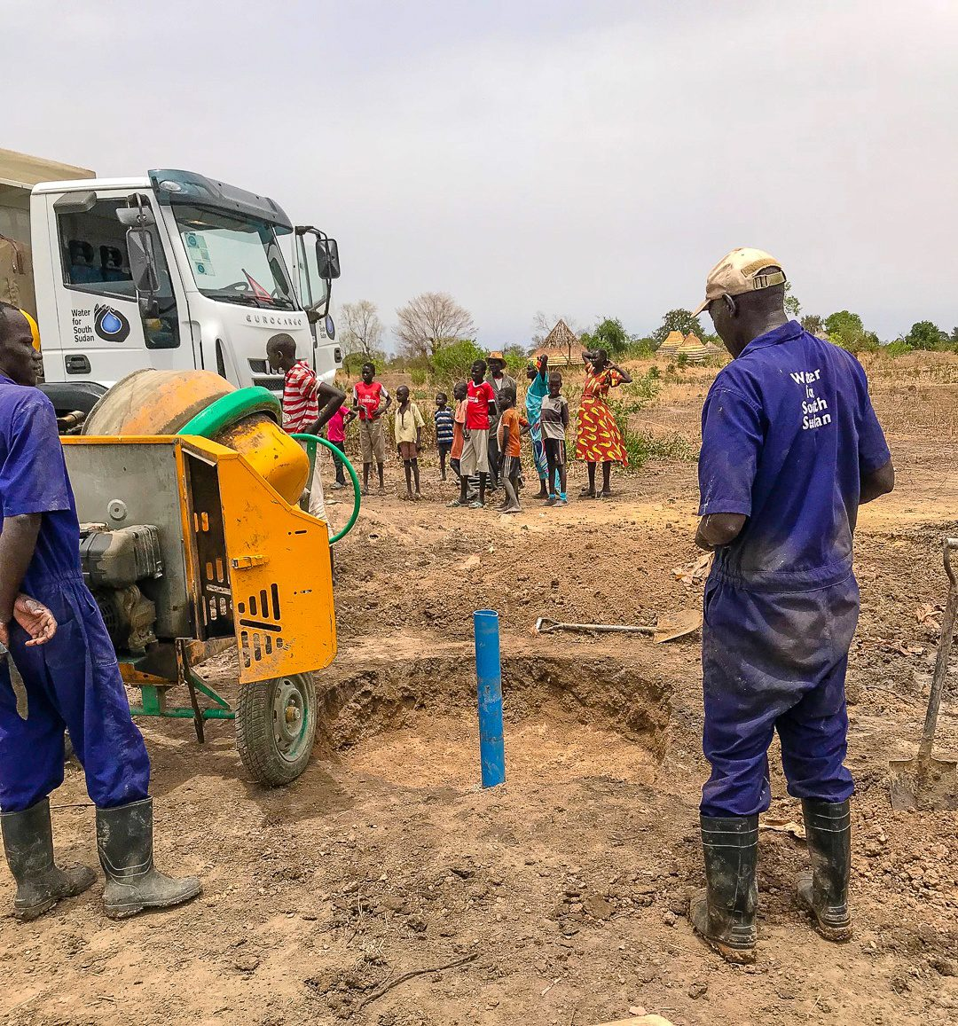Drilling the well with Water for South Sudan.