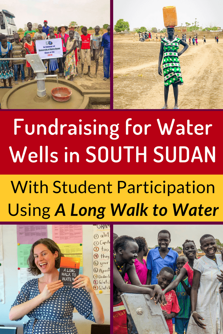 One of the best books to read with middle school students is A Long Walk to Water, the story of Salva Dut who founded Water for South Sudan. Interview and photos of the wells here. #Teaching #Fundraising #Education #Students #MiddleSchool