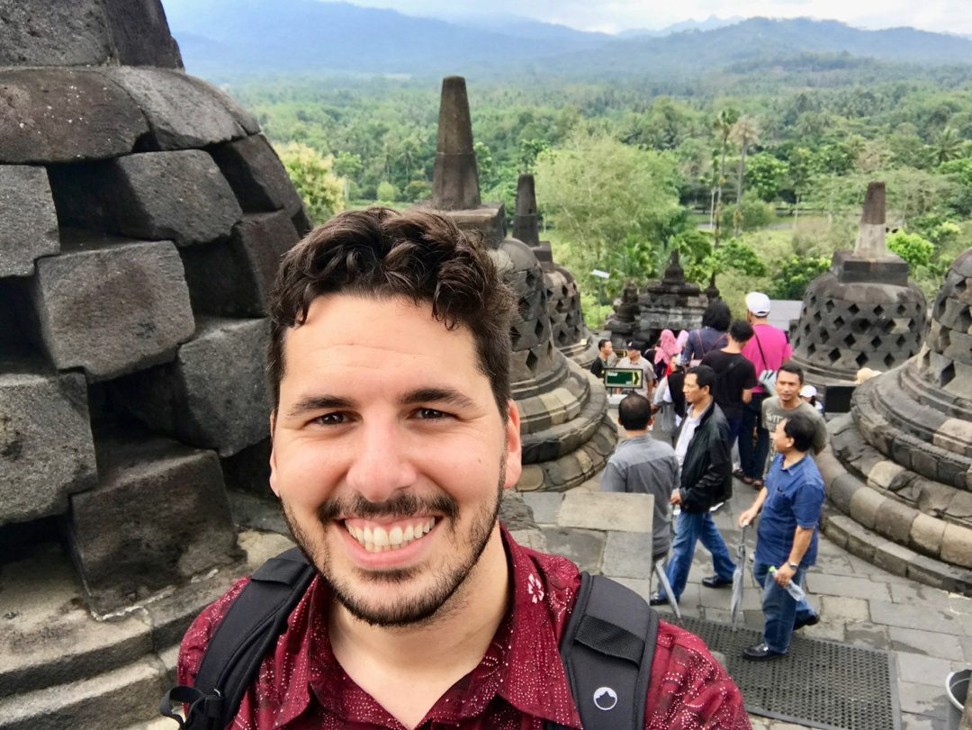 In Indonesia at Borobudur Temple.