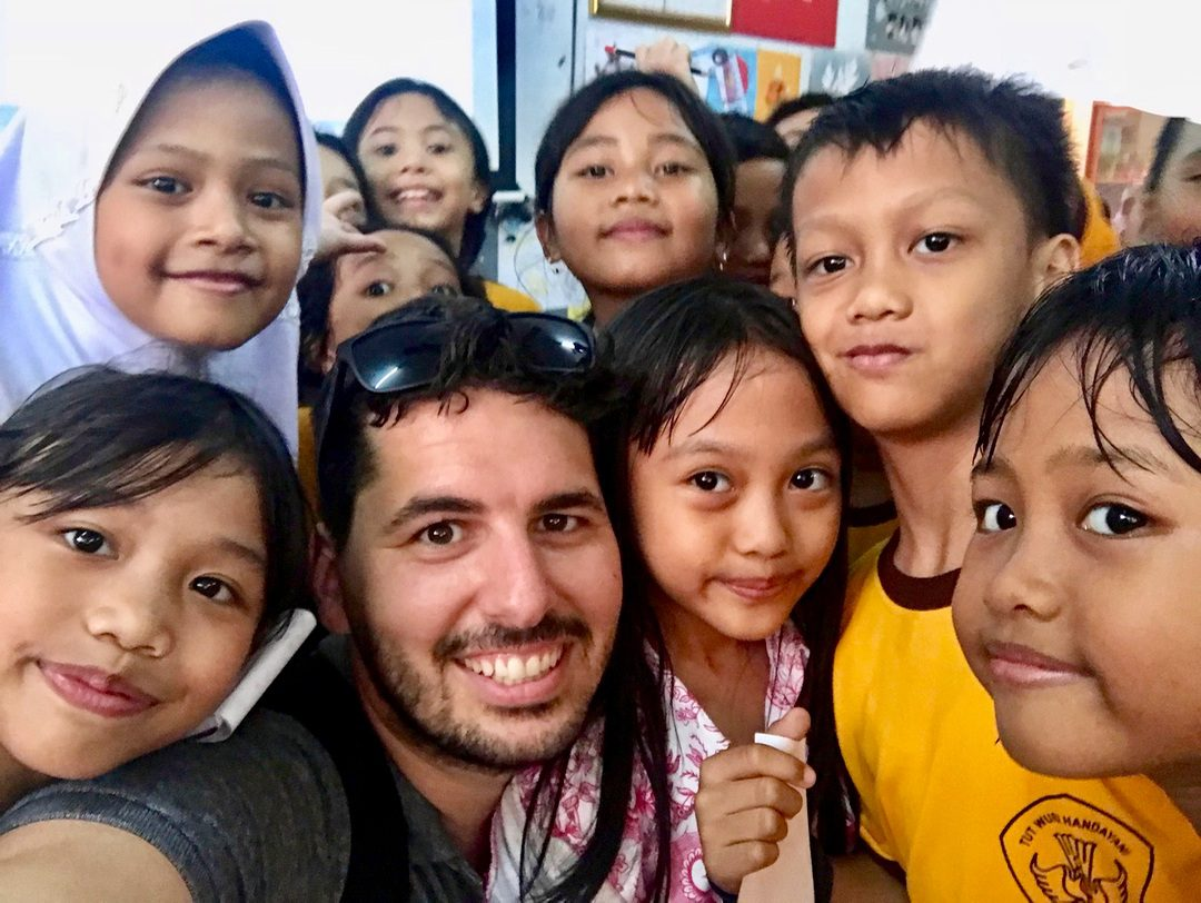 With students during teacher travel in Indonesia with TGC.