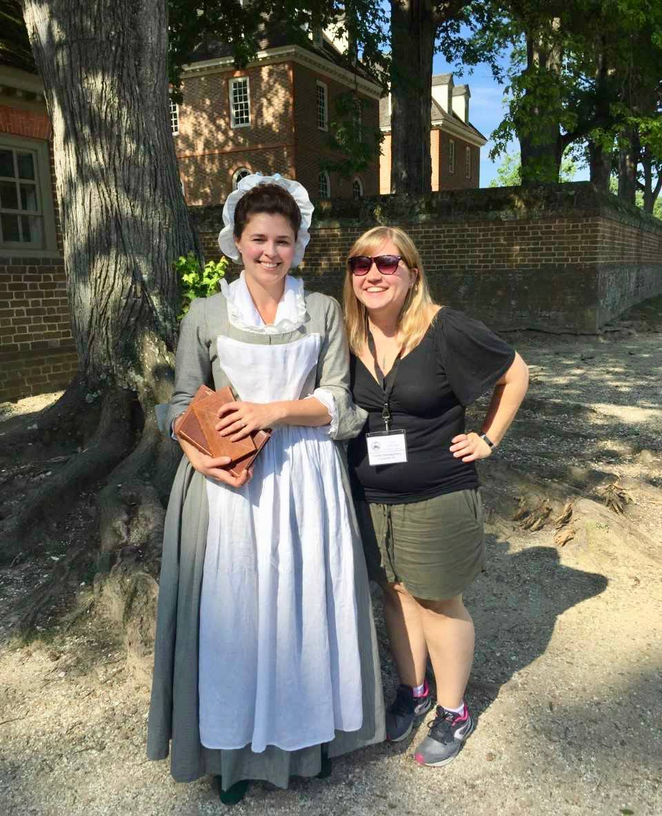 Trisha with Ann Wager at Colonial Williamsburg.