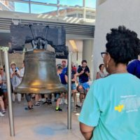Tara Thomas at the Liberty Bell at the Freedoms Foundation Seminar.