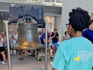 Tara Thomas at the Liberty Bell at the Freedoms Foundation Seminar.