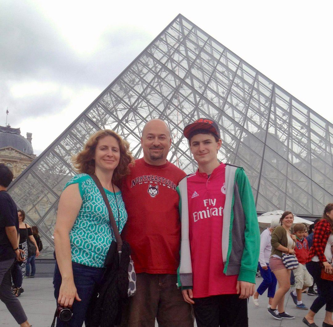 Shane and family at the Louvre in Paris as part of the exchange trip with students.