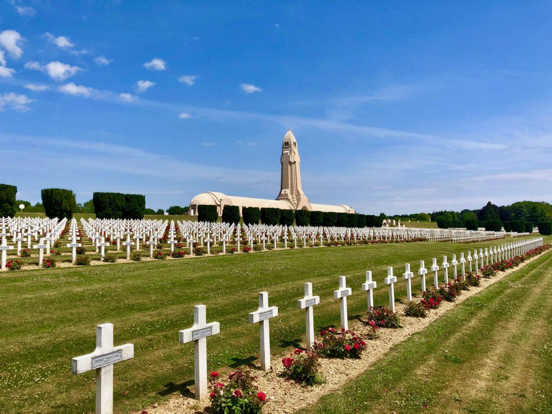The Ossuary at Verdun with a French Cemetery in front. Inside the Ossuary are 130,000 French and German soldiers killed at the Battle of Verdun in 1916. These remains were unidentifiable. The cemetery in front contains 15,000 French soldiers.