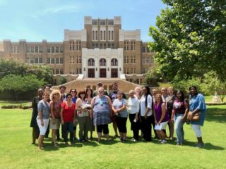 Professional development Civil Rights Educators Institute in front of Little Rock Central High School.