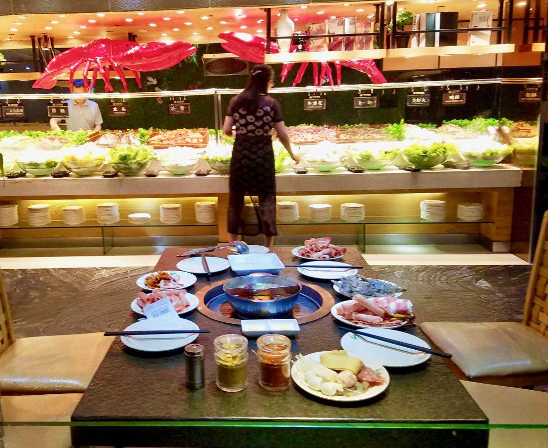 Enjoying a Hot Pot restaurant in China.