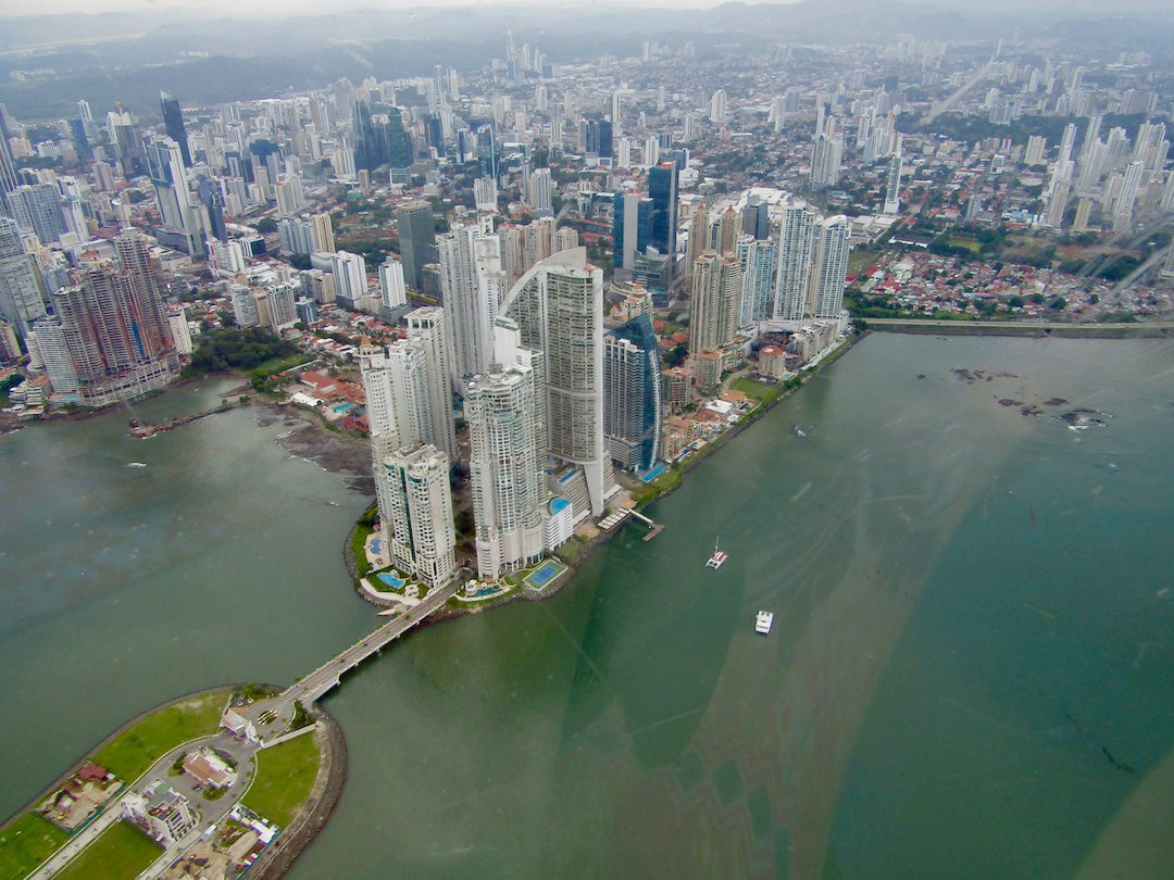 Panama City, as seen from a helicopter tour.